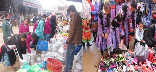 Gian hàng nhỏ của thương buôn dưới xuôi bày bán các mặt hàng gia dụng thiết yếu